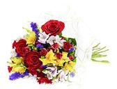 Bukiet kolorowy kwiaty na białym tle — Zdjęcie stockowe