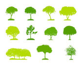 Set of Tree Silhouette Isolated on White Backgorund. Vector Illu — Stock Vector
