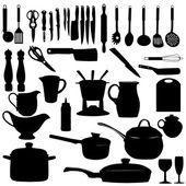 Illustrazione vettoriale cucina utensili sagoma — Vettoriale Stock