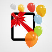 Digital Tablet Gift Vector Illustration with Balloons. — Stockvector