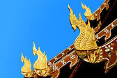 Ornament temple Sculpture Thailand style Naga, ancient holy snake in Buddhism legend Decorate on temple roof in ChiangMai, Thailand — Stock Photo