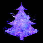 Christmas tree with fluorescent splash texture — Photo