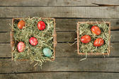 Top view of baskets with Easter eggs — Stock Photo