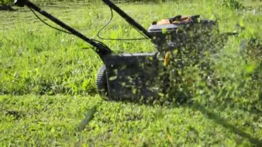Mowing with motor grass cutter — Stock Video