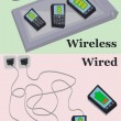 Wired vs wireless charging — Grafika wektorowa