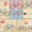 Stock Vector: Bicycle postcard set