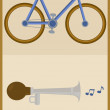 Bicycle and horn — Stock Vector