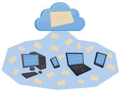 Cloud computing emails — Stock Vector