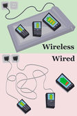 Wired vs wireless charging — Stock Vector