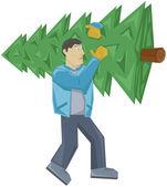 Hombre lleva el árbol de navidad — Vector de stock
