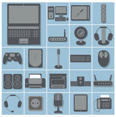 Icon set of computer gadgets — Stock Vector