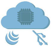 Cloud computing sign with chip in cloud spreads wi-fi signals an — Stock Vector