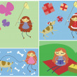 Four pictures of girl's activities: catching butterflies, christ — Stock Vector