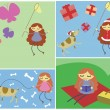 Four pictures of girl's activities: catching butterflies, christ — Stock Vector #38873869