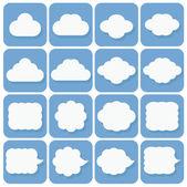 Vector icon set, collection of cloud icons, white on blue backgr — Vecteur