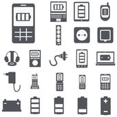 Vector set of computer devices charging, battery, indicators, ad — Stock Vector