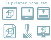 Vector icon set of 3d printing technology — Stock Vector