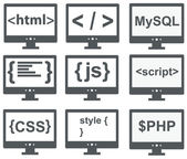 Vector collection of web development icons: html, css, tag, mysq — Stock Vector