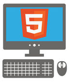 Vector icon of personal computer with html5 sign on the screen, — Stock Vector