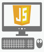 Vector icon of personal computer with javascript shield on the s — Stock Vector