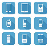 Vector icon collection of mobile phones - smart phone, qwerty, c — Stock Vector