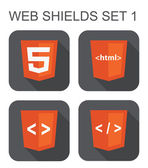 Vector collection of html web development shield signs: html5, t — Stock Vector