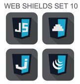 Vector collection of  javascript web development shield signs: j — Stock Vector