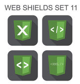 Vector collection of  xml web development shield signs: xml, tag — Stock Vector