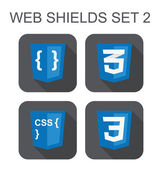Vector collection of css web development shield signs: css3, sty — Stock Vector