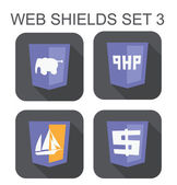 Vector collection of php web development shield signs: php eleph — Stock Vector