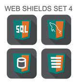 Vector collection of mysql web development shield signs: databas — Stock Vector