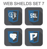Vector collection of postgre database web development shield sig — Stock Vector