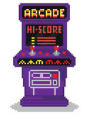 Vector illustration - pixel art style drawing of arcade cabinet, — Stock Vector