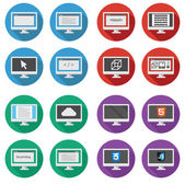 Vector collection of  web development round icons: screen of per — Stock Vector