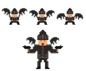 Pixel art set of evil flying person in black clothses and hat, w — Stock Vector