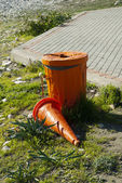 Orange dustbin — Stock Photo