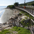 Stock Photo: Wooden footbridge on coast of Mediterranesea,Cyprus