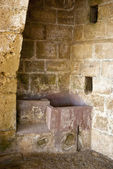 Inside the niches of ancient greek monastery — Stock Photo