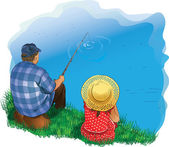 family fishing — Stock Vector