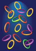 Background with colored rings — Vector de stock