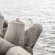 Seaside with concrete breakwater tetrapod — Stock Photo #39062401