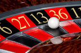 Classic casino roulette wheel with black sector thirteen 13 — Stock Photo