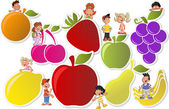 Fruits and cartoon children — Stock Vector