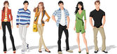 Groep van mode cartoon jonge. tieners. — Stockvector