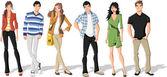 Skupina mladých kreslený módní. teenageři. — Stock vektor