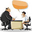Cartoon man with his angry boss — Stock Vector #13654886