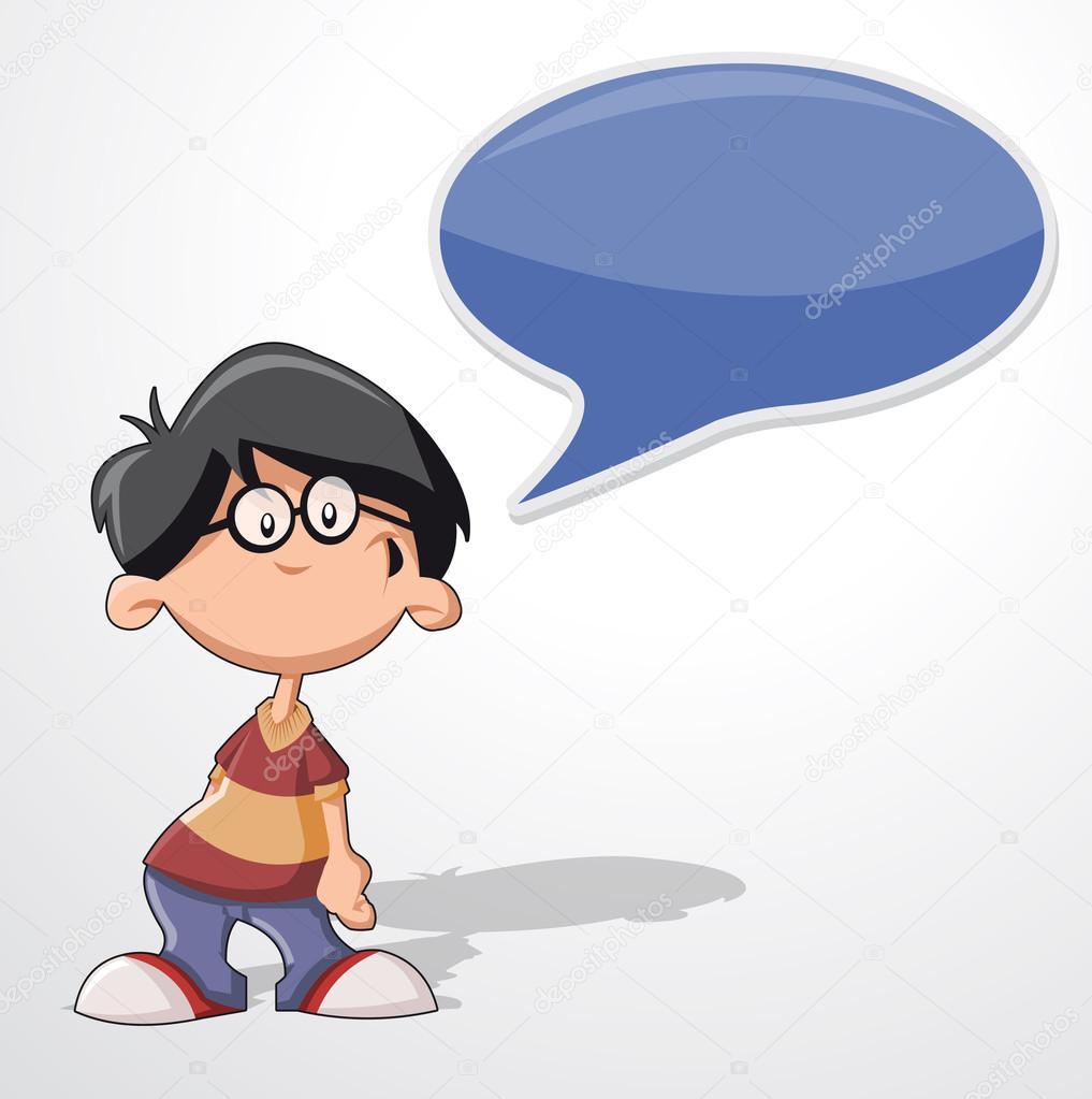 卡通男孩戴着眼镜说话