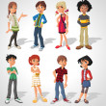 Group of cartoon . Teenagers. — Stock Vector #13671801