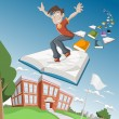 Cartoon boy flying on big book — Stock Vector #13671893