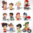 Cute happy cartoon kids — Vector de stock #13671951